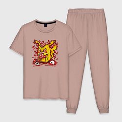 Пижама хлопковая мужская Пикачу зомби цвета пыльно-розовый — фото 1