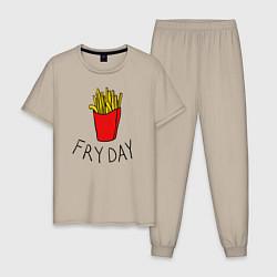 Пижама хлопковая мужская Пятница цвета миндальный — фото 1