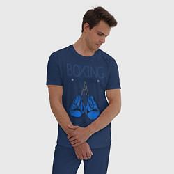 Пижама хлопковая мужская Boxing champions цвета тёмно-синий — фото 2