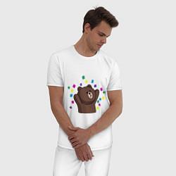 Пижама хлопковая мужская Мишка в серпантине цвета белый — фото 2