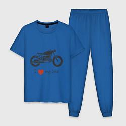 Пижама хлопковая мужская Люблю свой байк цвета синий — фото 1