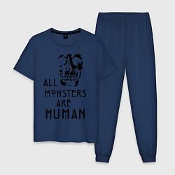 Пижама хлопковая мужская Monsters цвета тёмно-синий — фото 1
