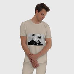 Пижама хлопковая мужская President Putin цвета миндальный — фото 2