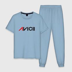 Пижама хлопковая мужская Avicii цвета мягкое небо — фото 1