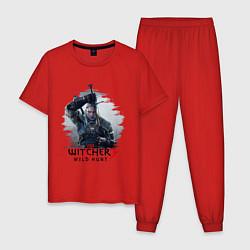 Пижама хлопковая мужская The Witcher 3 цвета красный — фото 1