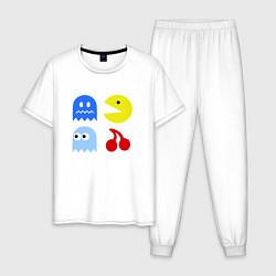 Пижама хлопковая мужская Pac-Man Pack цвета белый — фото 1