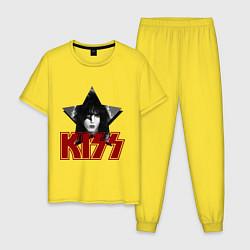 Пижама хлопковая мужская Kiss Star цвета желтый — фото 1