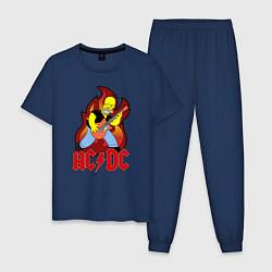 Пижама хлопковая мужская AC/DC Homer цвета тёмно-синий — фото 1