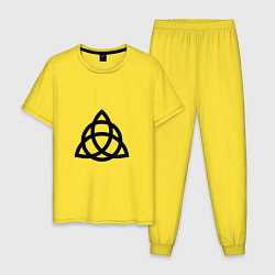 Пижама хлопковая мужская Зачарованные цвета желтый — фото 1