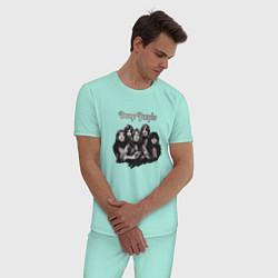 Пижама хлопковая мужская Deep Purple: Rock Group цвета мятный — фото 2