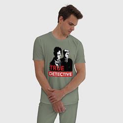 Пижама хлопковая мужская True Detective цвета авокадо — фото 2