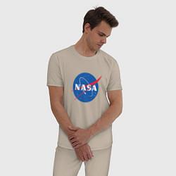 Пижама хлопковая мужская NASA: Logo цвета миндальный — фото 2