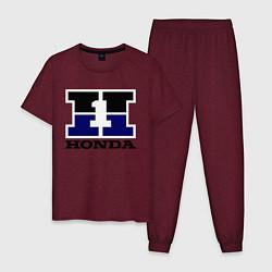 Пижама хлопковая мужская Honda цвета меланж-бордовый — фото 1