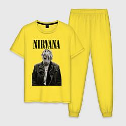 Пижама хлопковая мужская Kurt Cobain: Young цвета желтый — фото 1