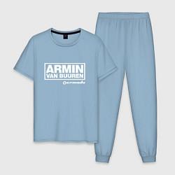 Пижама хлопковая мужская Armin van Buuren цвета мягкое небо — фото 1