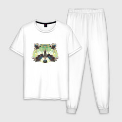 Пижама хлопковая мужская Мордочка енота цвета белый — фото 1