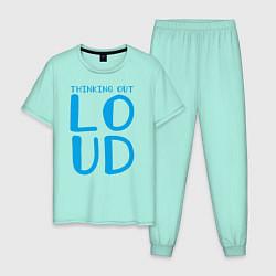 Пижама хлопковая мужская Thinking Out: Loud цвета мятный — фото 1