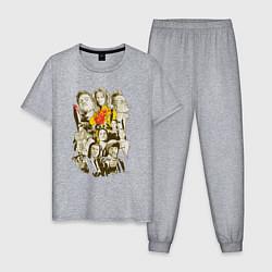 Пижама хлопковая мужская Герои Тарантино цвета меланж — фото 1