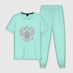 Пижама хлопковая мужская Герб России цвета мятный — фото 1