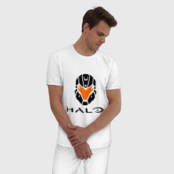 Пижама хлопковая мужская Halo: Robot Mask цвета белый — фото 2