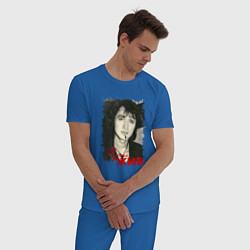 Пижама хлопковая мужская Цой жив цвета синий — фото 2