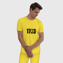 Пижама хлопковая мужская 1703 цвета желтый — фото 2