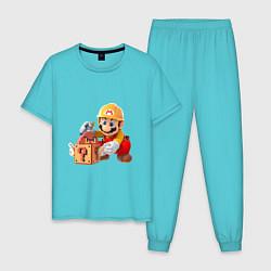 Пижама хлопковая мужская Super Mario: Builder цвета бирюзовый — фото 1