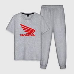 Пижама хлопковая мужская Honda Red цвета меланж — фото 1