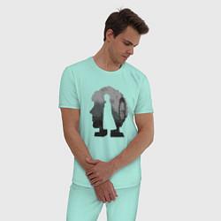 Пижама хлопковая мужская Sherlock World цвета мятный — фото 2