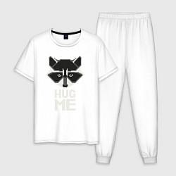 Пижама хлопковая мужская Raccoon: Hug me цвета белый — фото 1