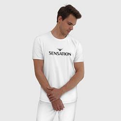 Пижама хлопковая мужская Sensation цвета белый — фото 2