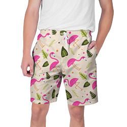 Шорты на шнурке мужские Нежный фламинго цвета 3D-принт — фото 1