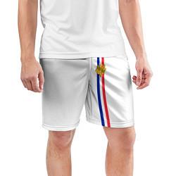 Шорты спортивные мужские Франция: лента с гербом цвета 3D — фото 2
