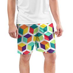 Шорты спортивные мужские 3D кубы цвета 3D — фото 2