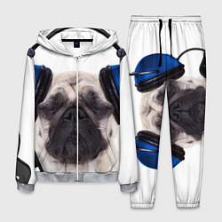 Костюм мужской Мопс в наушниках цвета 3D-меланж — фото 1