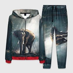 Костюм мужской Слон в лесу цвета 3D-красный — фото 1