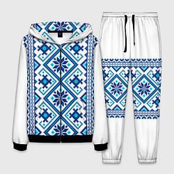 Костюм мужской Орнамент Руси: синий цвета 3D-черный — фото 1