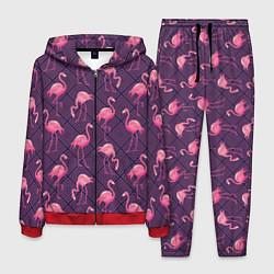 Костюм мужской Фиолетовые фламинго цвета 3D-красный — фото 1