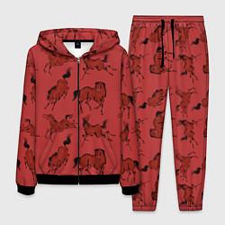 Костюм мужской Красные кони цвета 3D-черный — фото 1