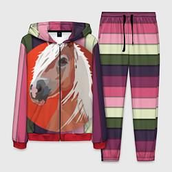Костюм мужской Лошадь с фоном цвета 3D-красный — фото 1