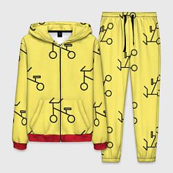 Костюм мужской Велосипеды на желтом цвета 3D-красный — фото 1