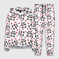 Костюм мужской Любимые панды цвета 3D-меланж — фото 1