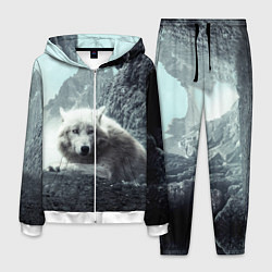 Костюм мужской Волк в горах цвета 3D-белый — фото 1