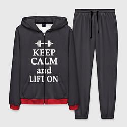 Костюм мужской Keep Calm & Lift On цвета 3D-красный — фото 1