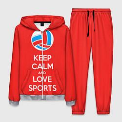 Костюм мужской Keep Calm & Love Volleyball цвета 3D-меланж — фото 1