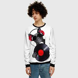 Свитшот мужской DJ бульдог цвета 3D-черный — фото 2