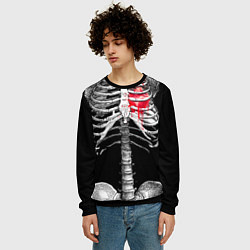 Свитшот мужской Скелет с сердцем цвета 3D-черный — фото 2