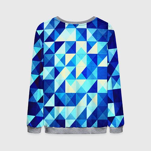 Мужской свитшот Синяя геометрия / 3D-Меланж – фото 2