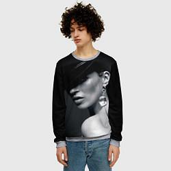 Свитшот мужской Девушка в шляпе цвета 3D-меланж — фото 2