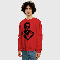 Свитшот хлопковый мужской Железный Арни цвета красный — фото 2